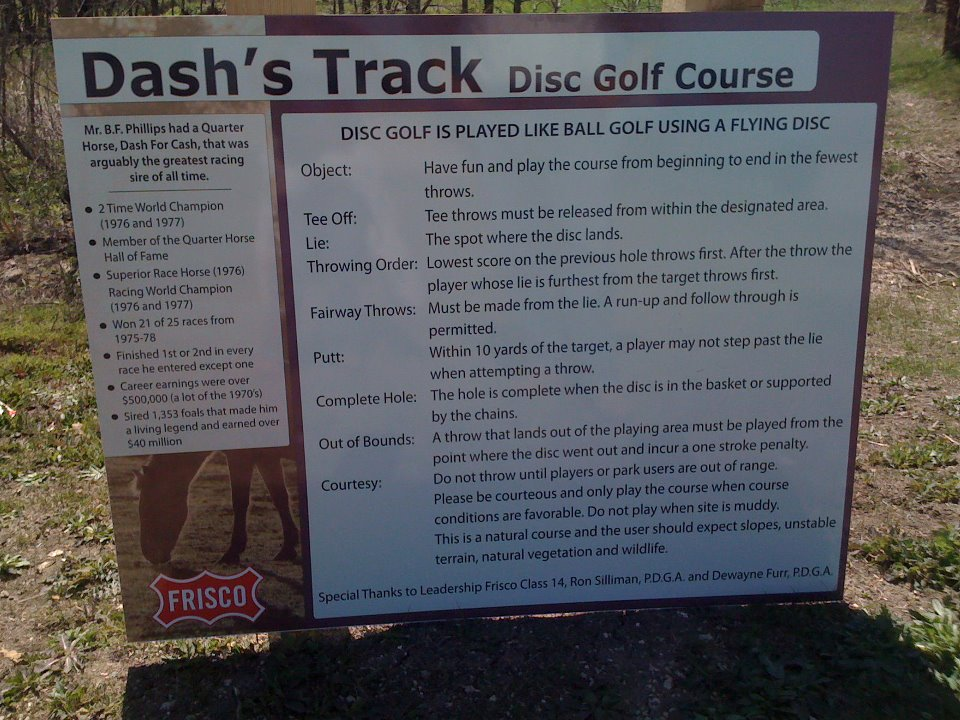Dash's Track Disc Golf Course; Frisco, Texas